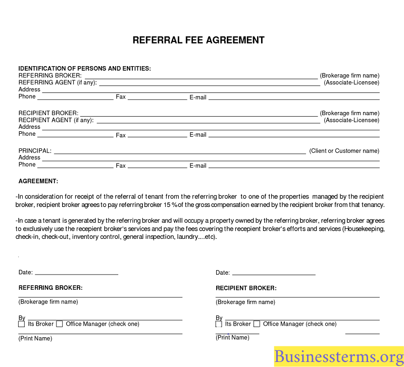 Real estate referral agreement form